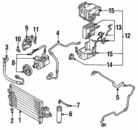 Condenser, Compressor & Lines for 1994 Infiniti G20 | Grubbs ... on infiniti g20 transmission problems, infiniti g20 engine diagram, infiniti g20 repair manual, infiniti g20 parts catalog, infiniti i30 wiring diagram, infiniti g37 wiring diagram, infiniti g20 chassis diagram, infiniti g35 wiring diagram,