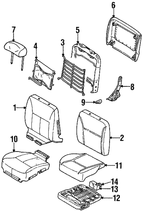 Front Seat Components For 1996 Ford Taurus