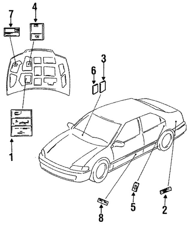 1992 1994 Honda Label Airbag 77876 Sg0 A80