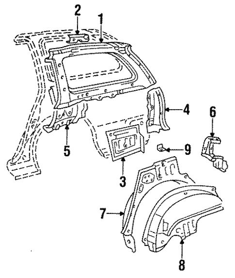 Genuine Oem Inner Structure Parts For 1996 Toyota Corolla Dx
