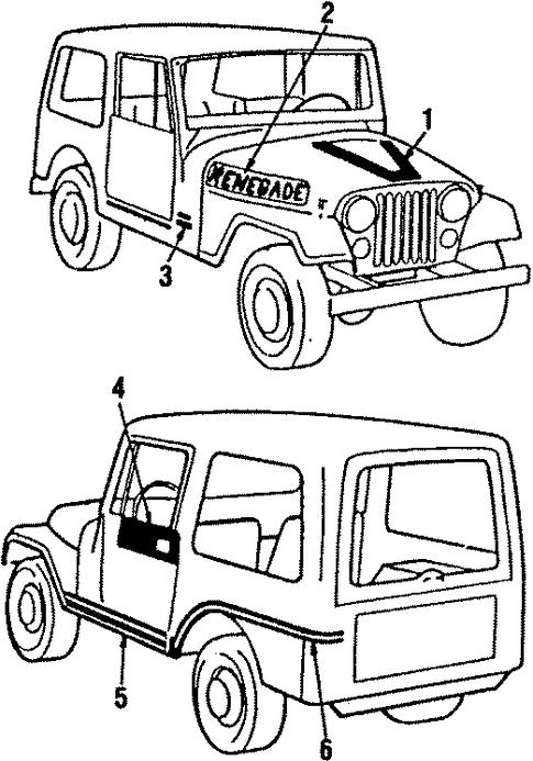 jeep decal black 1987-1990 jeep wrangler yj