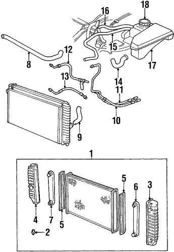 radiator components parts for 1999 oldsmobile aurora. Black Bedroom Furniture Sets. Home Design Ideas