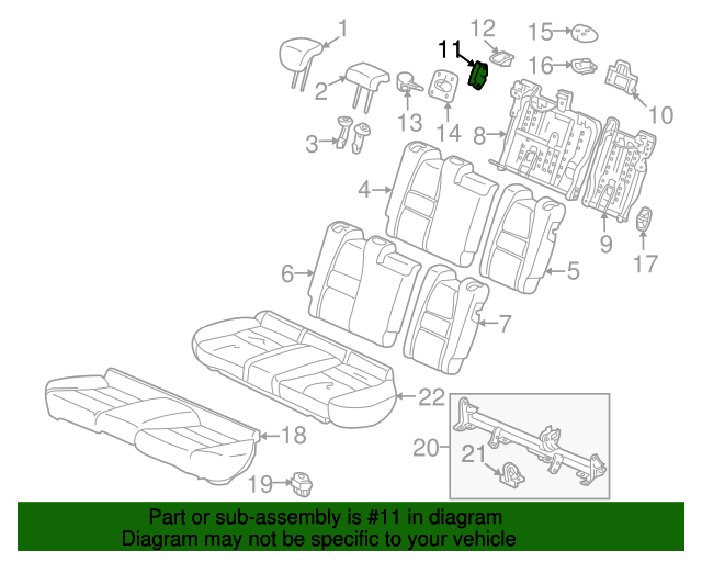 Lock Assembly, R Rear Seat *NH167L* (Graphite Black)