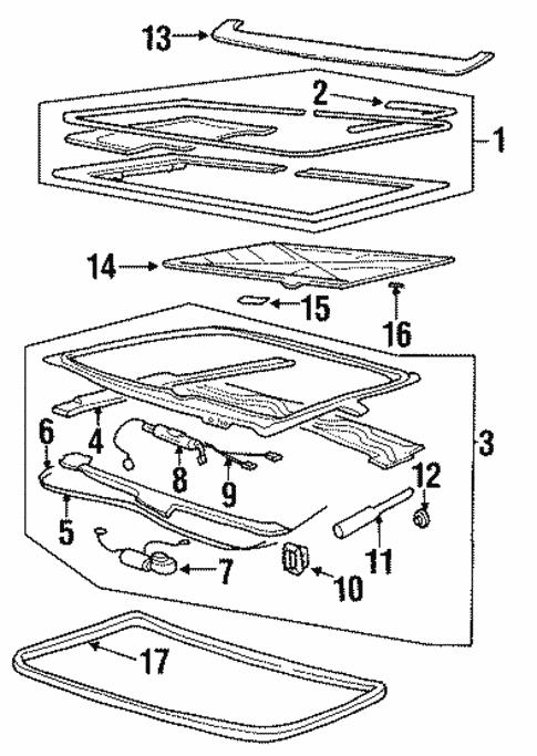 Sunroof for 1994 Pontiac Grand Am | GM Parts Online | 1994 Pontiac Grand Prix Engine Diagram |  | GM Parts Online