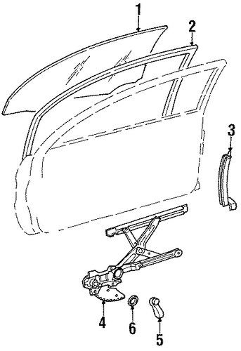 BODY/GLASS - FRONT DOOR for 1996 Toyota Tercel #1