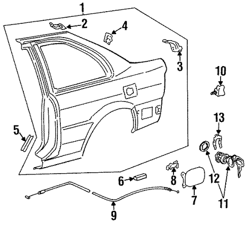BODY/FUEL DOOR for 1996 Toyota Tercel #1