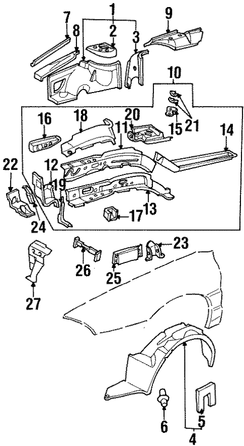 Structural Components Rails For 1996 Oldsmobile Aurora