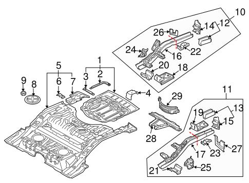 Volkswagen Floor Pan Assembly Bracket 7l0804756