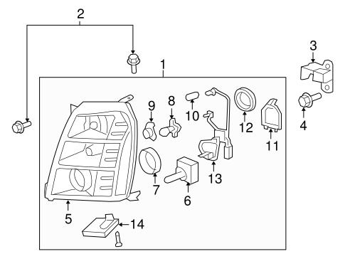oem 2007 cadillac escalade headlamp components parts. Black Bedroom Furniture Sets. Home Design Ideas