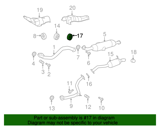 Genuine Toyota 17565-0P041 Exhaust Pipe Support