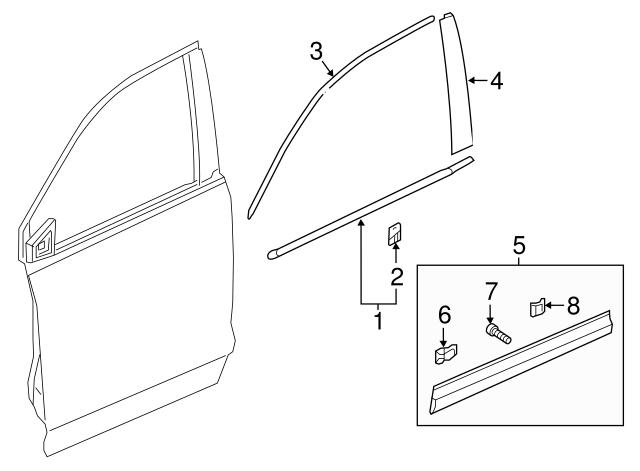 Genuine Honda 72450-SE3-A02 Door Molding Assembly