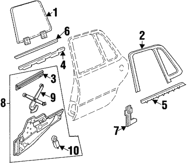 1992 1999 Buick Lesabre Window Regulator 16630994