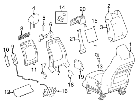 Oem 2008 Gmc Acadia Front Seat Components Parts
