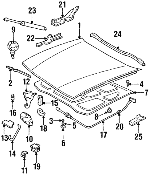 Hood Components For 1997 Cadillac Deville