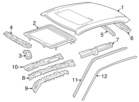 BODY/EXTERIOR TRIM - ROOF for 1998 Toyota Corolla #1