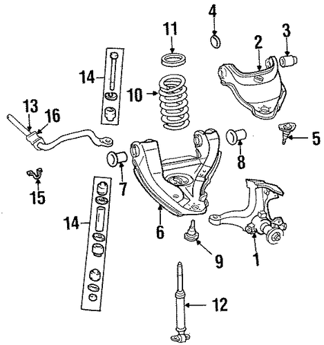 Stabilizer Bar   Components for    1992    GMC    C1500    Pickup