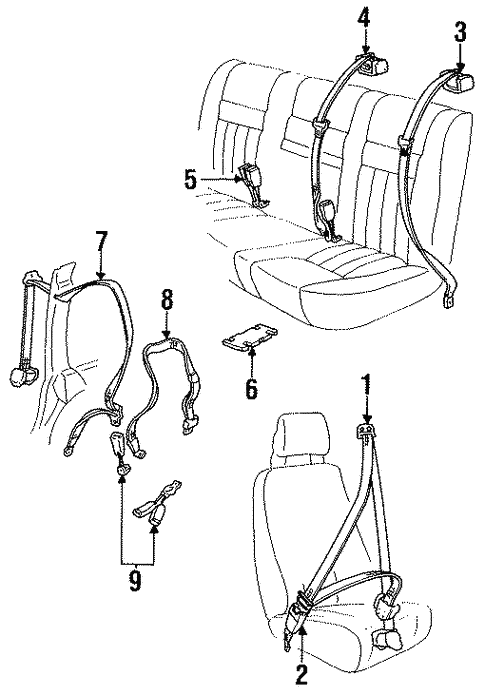 Rear Seat Belts For 1994 Volvo 940 Volvo Parts Counter