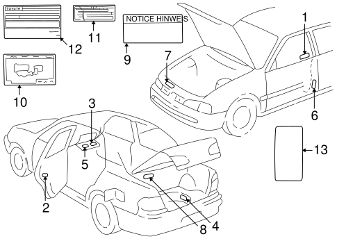 BODY/LABELS for 1998 Toyota Corolla #1