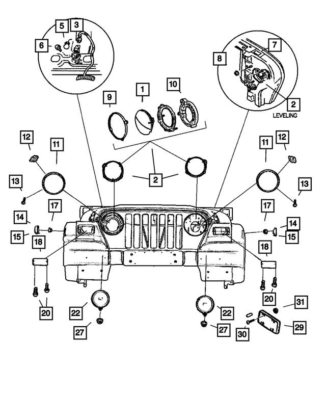 Genuine Chrysler 4874378 Headlamp Bulb Ring
