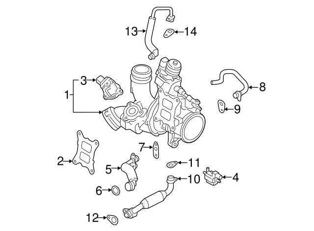 2013 2018 Volkswagen Water Inlet Pipe 06k 121 497 Ac