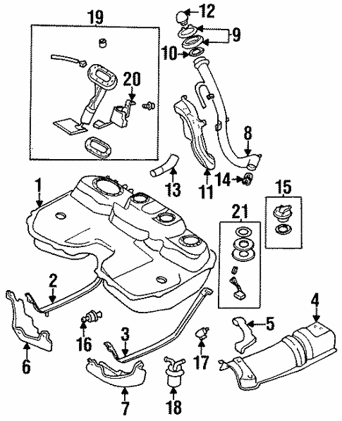 fuel system components for 1998 subaru legacy