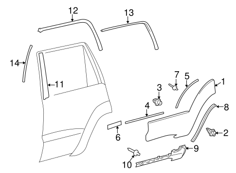 Exterior Trim - Rear Door for 2003 Toyota 4Runner #0