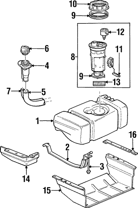 fuel system components for 1999 jeep cherokee