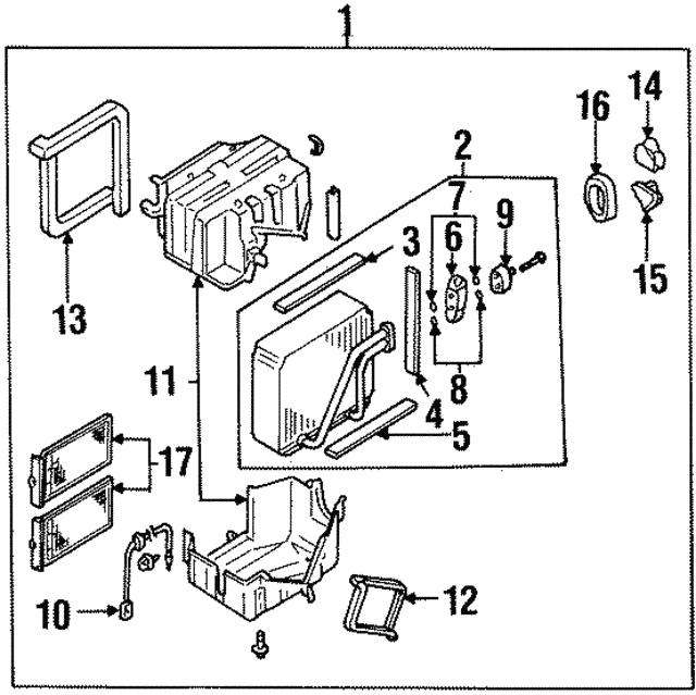 2000 2002 Infiniti G20 Evaporator Core 27280 7j201
