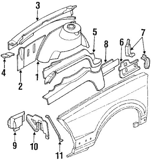 Structural Components Rails For 1996 Oldsmobile Cutlass Ciera