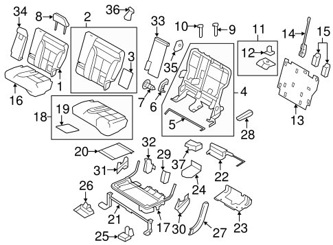 Body/Rear Seat Components for 2013 Ford Edge #2