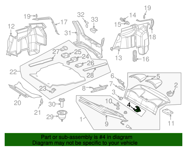 Pkg tray trim bracket mercedes benz 209 694 00 14 mb for Mercedes benz part numbers list