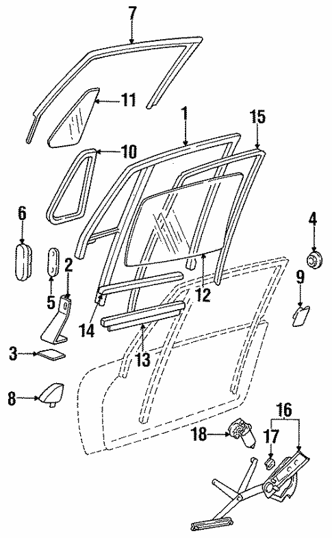 Body/Glass - Door for 1996 Porsche 911 #1