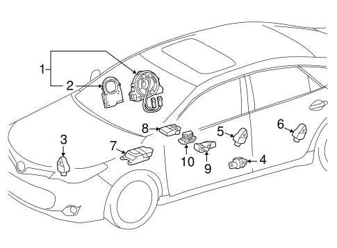 Air Bag Components for 2005 Toyota Highlander #3