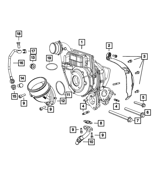 Bolt, Mounting, Turbocharger - Mopar (68148164AA)