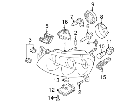 Headlamp Components for 2005 Mazda 3 #1