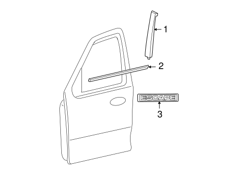 Body/Exterior Trim - Front Door for 2008 Ford Escape #1