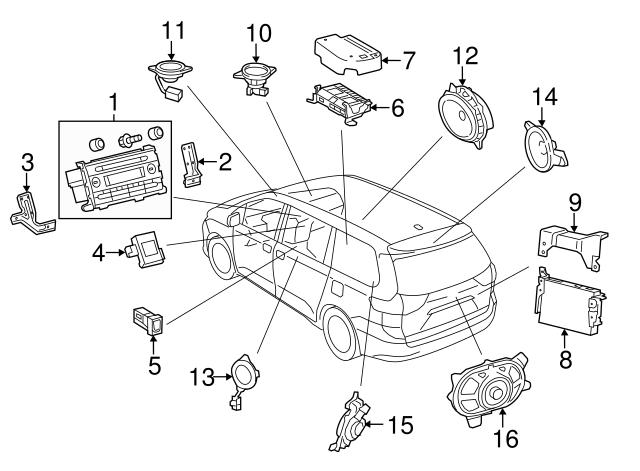 2011 2019 Toyota Sienna Rear Speaker 86160 08150
