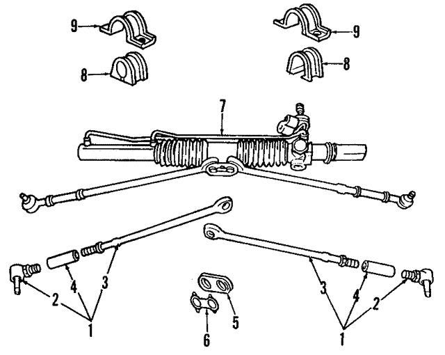 1996 1997 Mopar Steering Gear 4897858ab