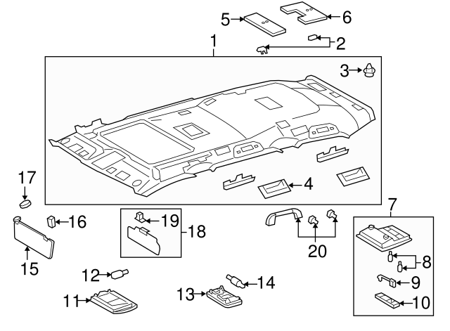 TOYOTA Genuine 74330-0C070-B0 Visor Assembly