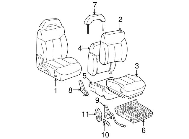 seat frame gm 15688188 gmpartsdirect 92 S10 Bucket Seats