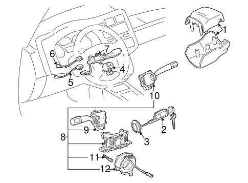 Shroud, Switches & Levers for 1996 Toyota RAV4 #1