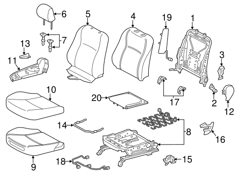 BODY/PASSENGER SEAT COMPONENTS for 2012 Toyota Yaris #2