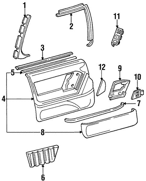 Interior Trim - Front Door for 1998 Oldsmobile 88 #0