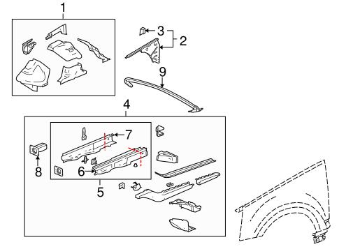 oem 2008 cadillac srx structural components  u0026 rails parts
