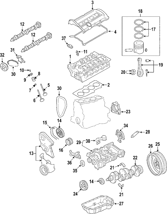 2001 2015 Volkswagen Bearings 06d 105 701 A Glb