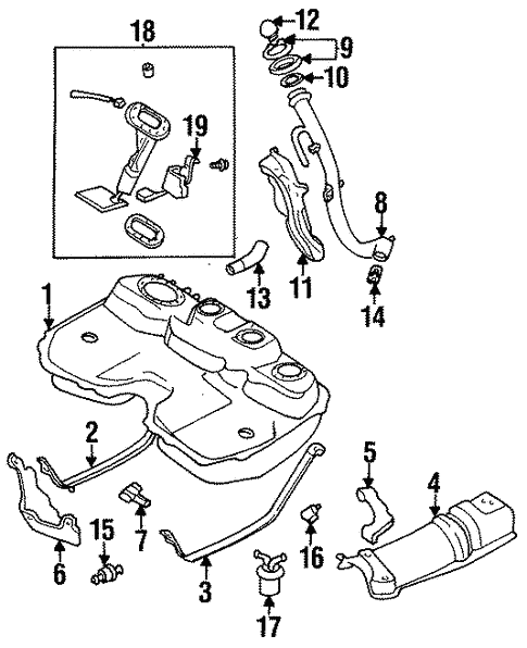 fuel system components for 1996 subaru legacy