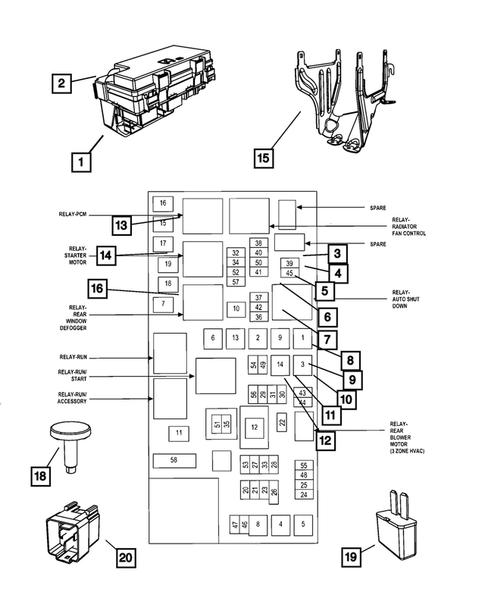 Power Distribution Center  Fuse Block  Junction Block  Relays And Fuses For 2008 Dodge Grand