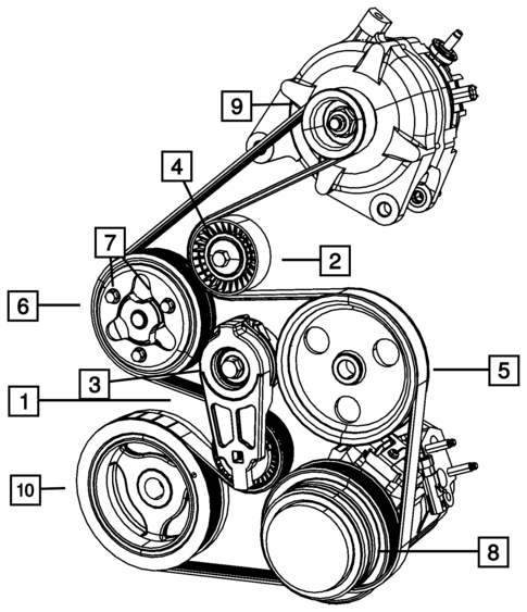Pulleys And Related Parts For 2010 Dodge Grand Caravan