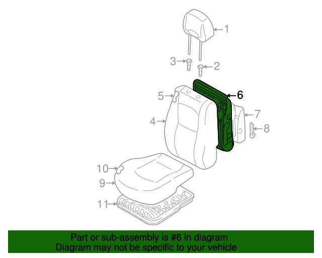 Genuine Hyundai 89250-26002 Seat Cushion Frame and Pad Assembly Rear