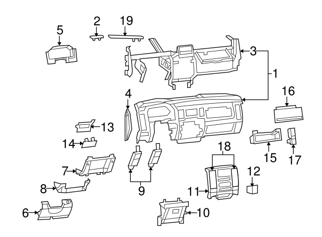 Replacement Parts Parking Brake Components Genuine Chrysler 1NL972DVAA Parking Brake Handle